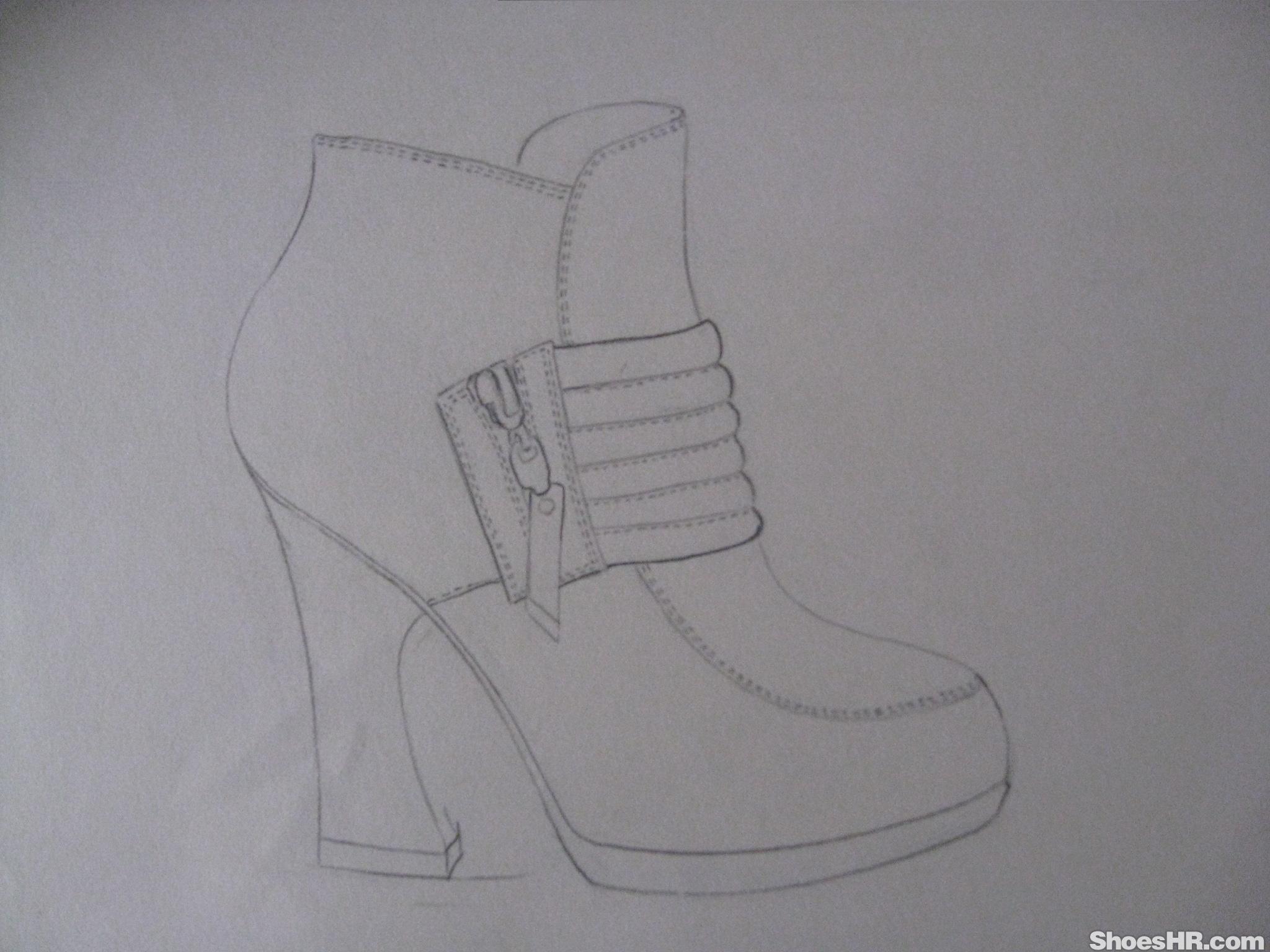 手绘线描,赛赛 中国鞋业设计师网