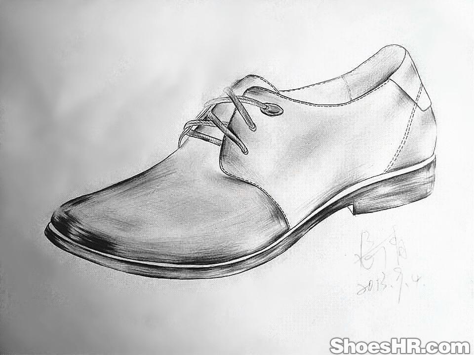女生鞋子素描