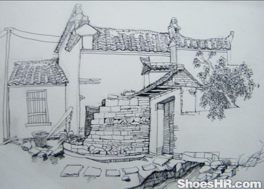 作品分类:素描/油画; 老房子; 房子素描图片大全;
