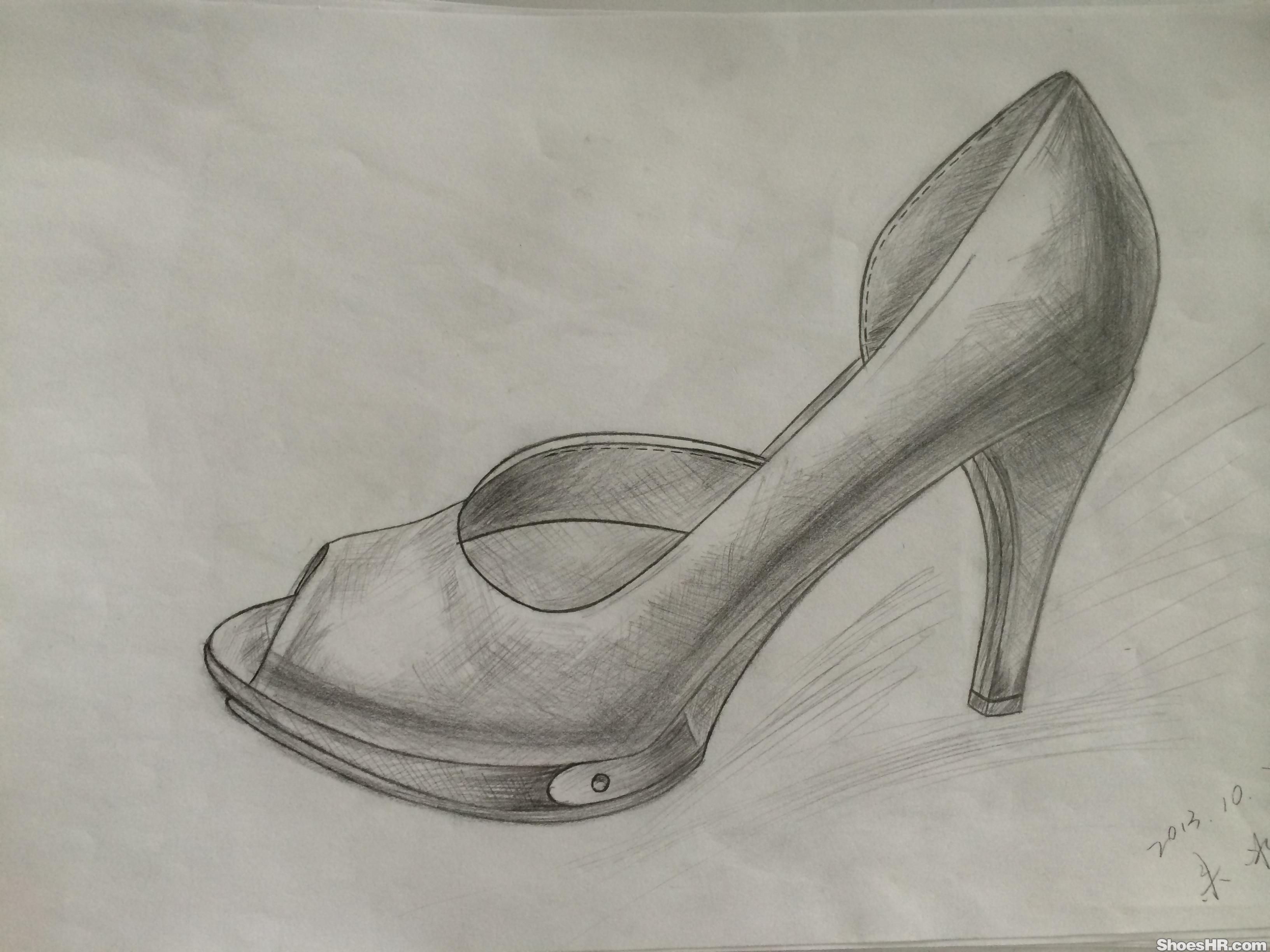 鞋子素描步骤图