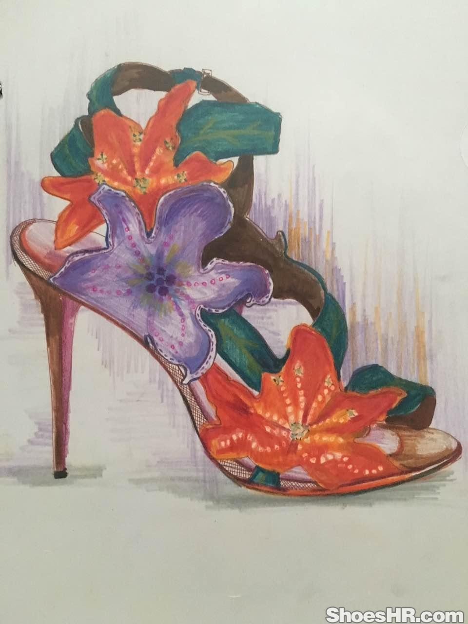 彩铅手绘女凉鞋
