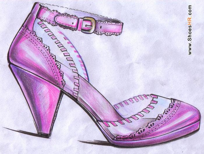鞋子设计手稿素描图