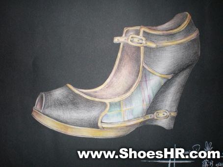 彩铅手绘punk时装鞋