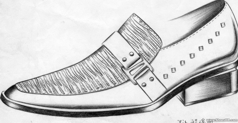 男鞋设计手稿素描图