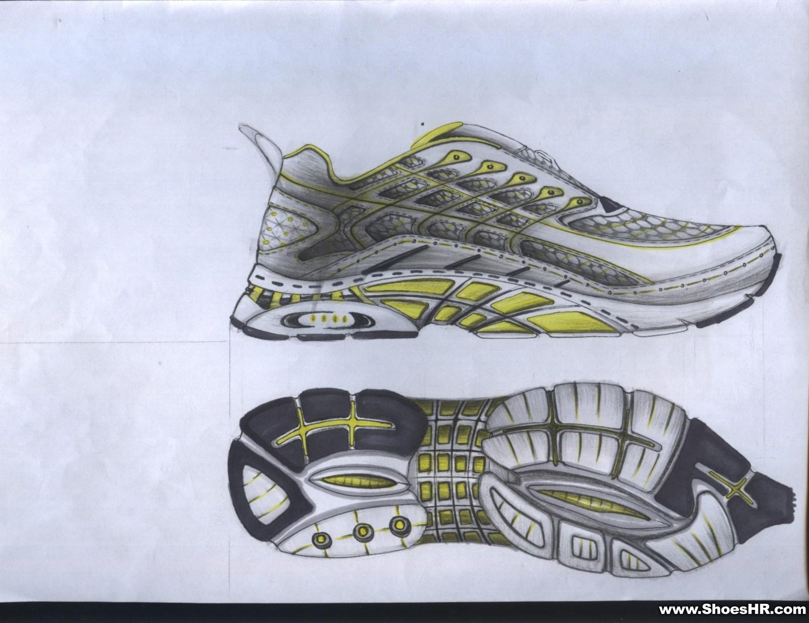 运动鞋设计马克笔手绘