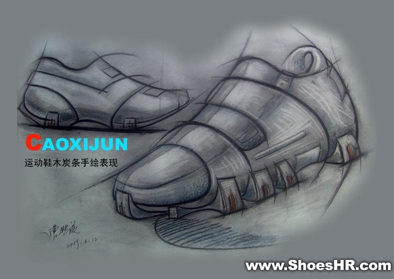 运动鞋木炭条手绘表现