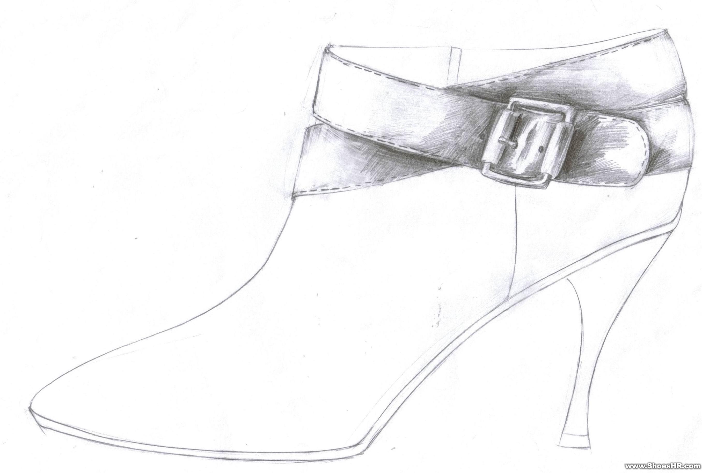高鞋子设计图铅笔手稿分享展示
