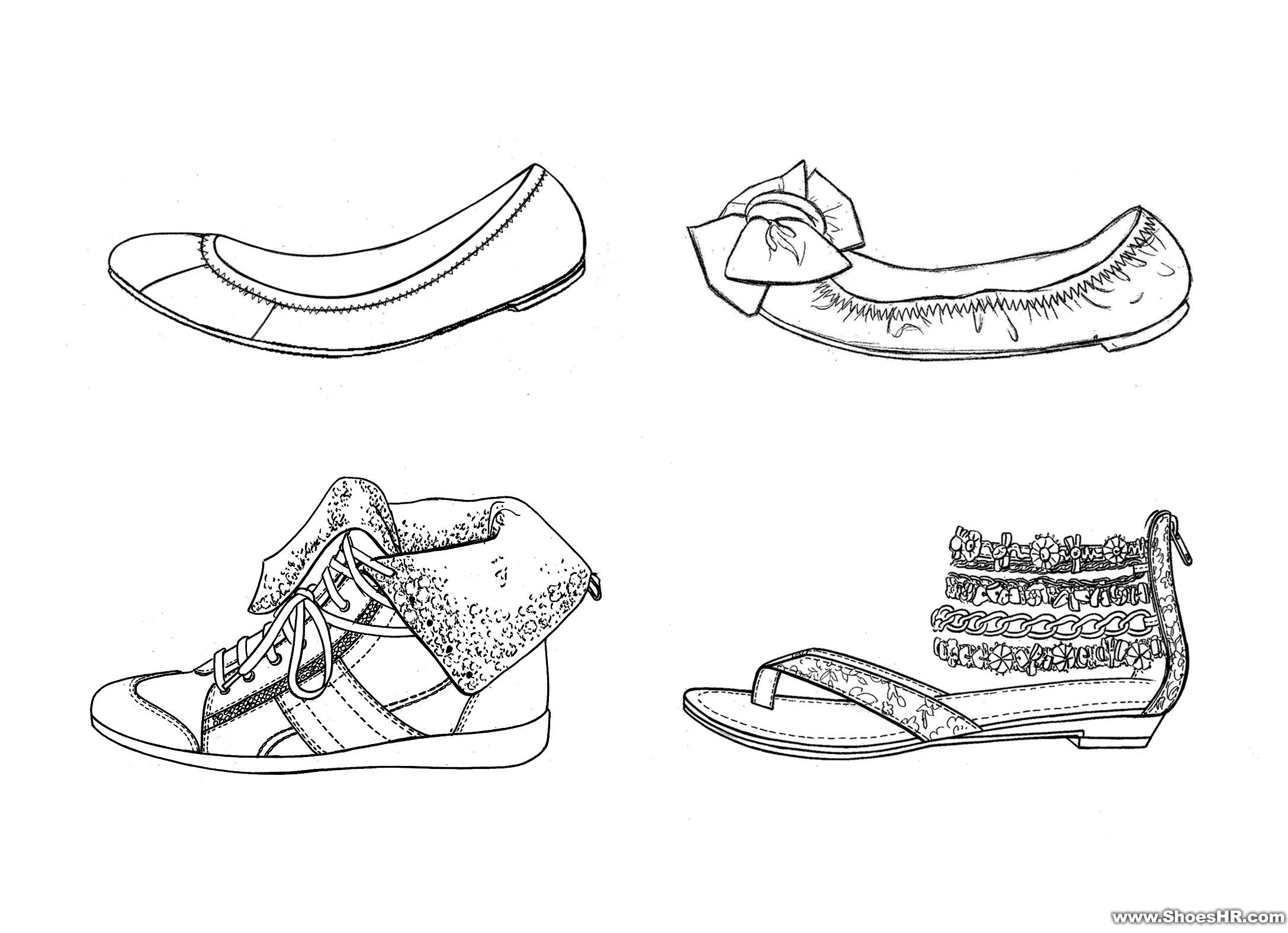 手绘女鞋设计图