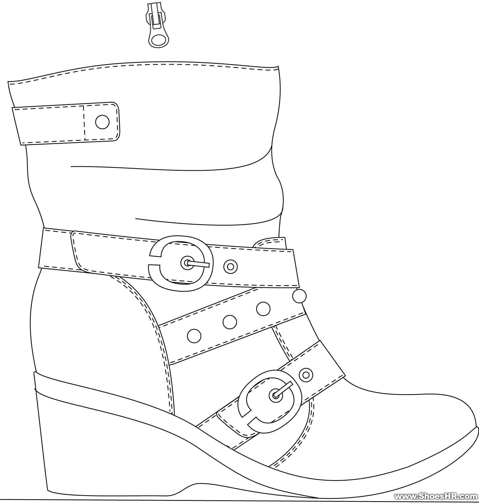 鞋子设计图铅笔手稿展示图片